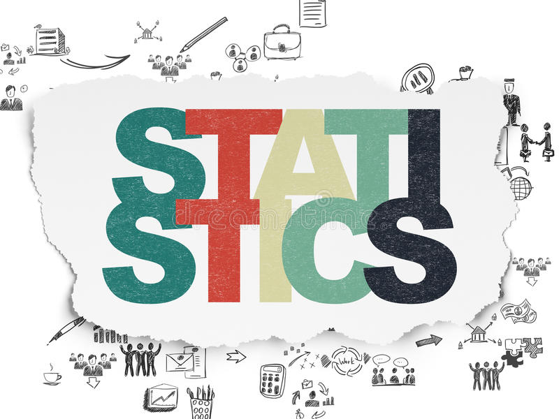 Business concept: Statistics on Torn Paper. Business concept: Painted multicolor text Statistics on Torn Paper background with Scheme Of Hand Drawn Business vector illustration