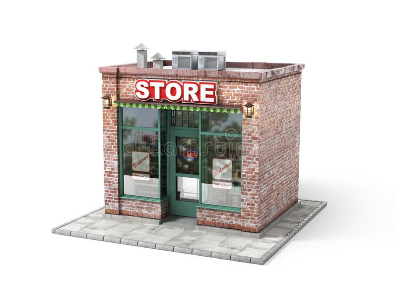Business concept. Store with empty signboard. Isolated on a white. 3d illustration royalty free illustration