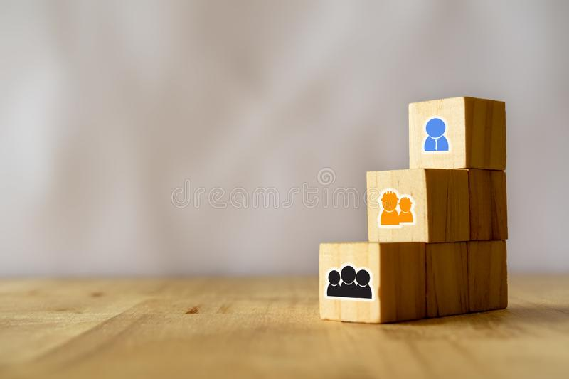 Business concept , the structure of team including worker, operation, staff, manger and ceo or boss step by step stock photography