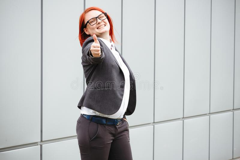 Business concept of success and negotiation. Woman boss, in suit stock photos