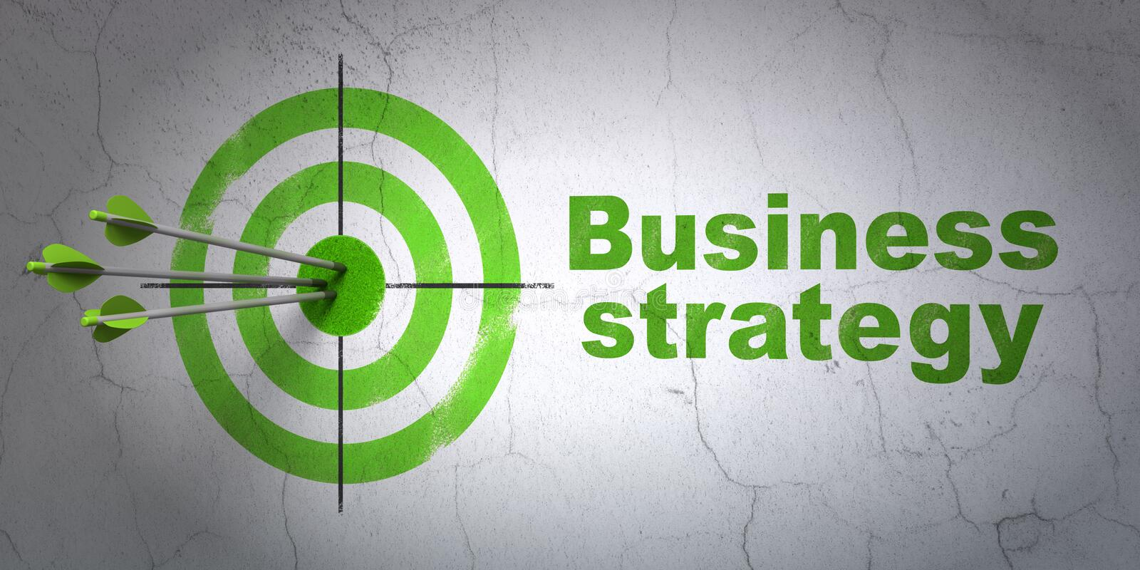 Business concept: target and Business Strategy on wall background stock images