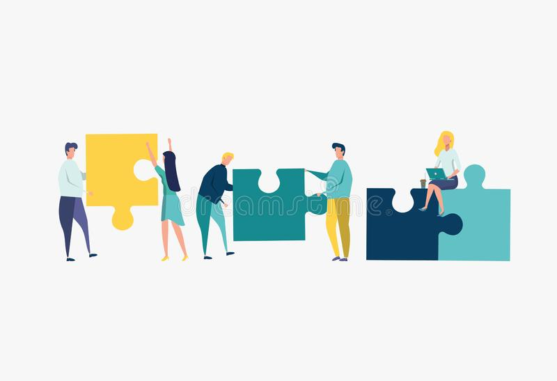 People connecting puzzle elements. colorful vector illustration. Businessmen build together a creative business team. Business concept team metaphor. Businessmen royalty free illustration