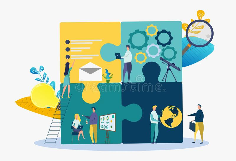 Business concept team metaphor. People connecting puzzle elements. Successful business project vector illustration