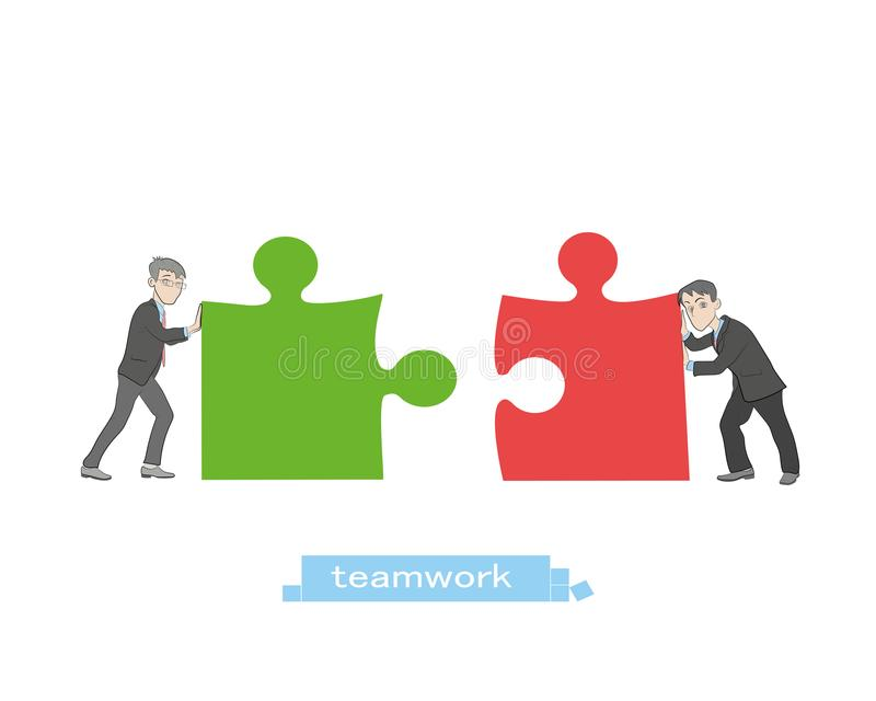 Business concept. Teamwork metaphor. Two businessmen connecting puzzle elements. Vector illustration flat style design. Combining vector illustration