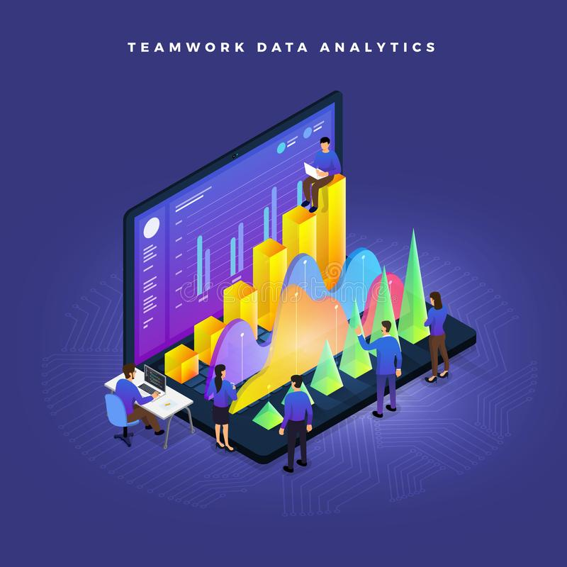 Isometric Data Analytics royalty free illustration