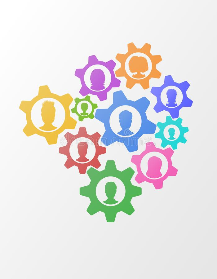 Business concept of teamwork strategy on abstract background with gears, flat style business network mechanism with people icons. stock illustration