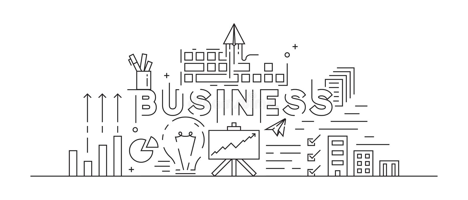 Business Concept Theme Line Art Design. Black And White Doodle Style. Flat And Youth Modern Vector. Thin Line Design. Flat And Youth Modern Vector. Business royalty free illustration