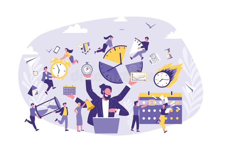 Business Concept of Time Management, Productivity, Organize. vector illustration