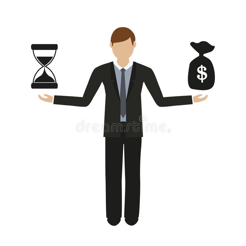 Business concept about time and money business man character royalty free illustration