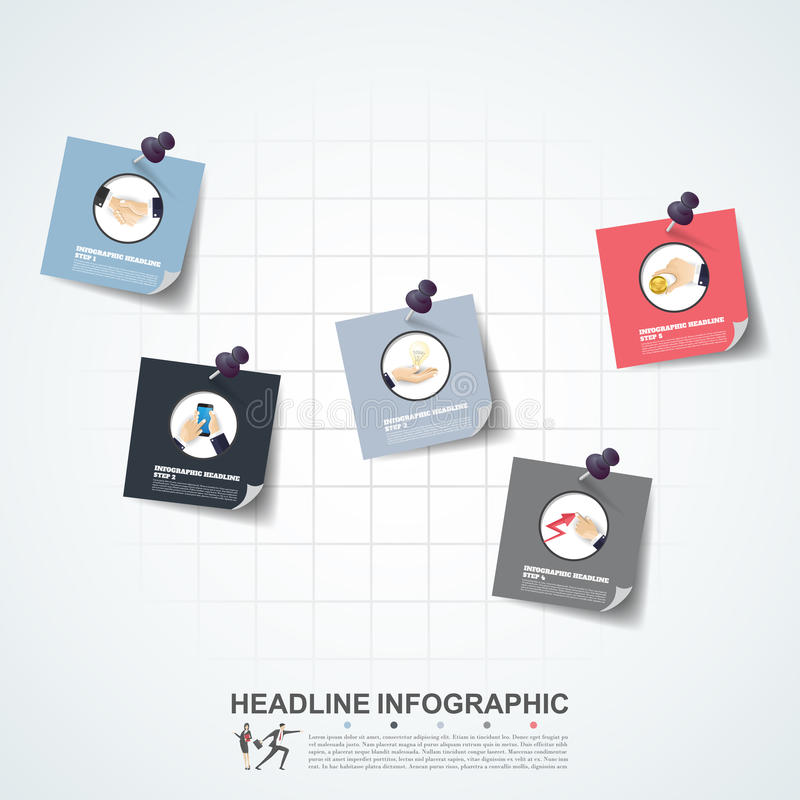 Business concept timeline. Infograph template, realistic paper 5 stock illustration