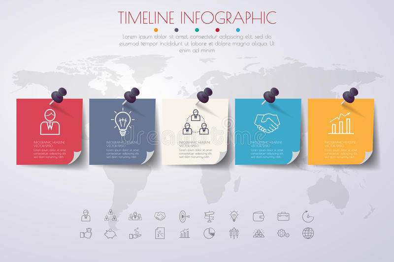 Business concept timeline infograph template realistic paper 5 business concept timeline infograph template realistic paper 5 steps vector banner can be used for workflow layout diagrampresentation education or fbccfo Images