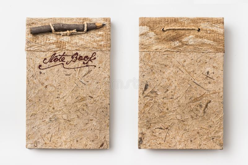 Top view of old vintage handmade notebook stock photography