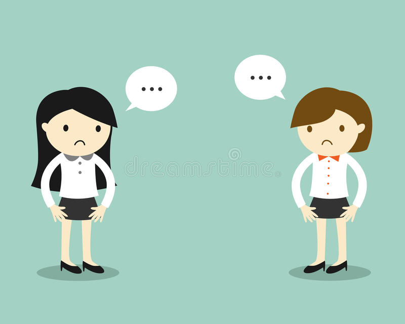 Business concept, Two business women feeling awkward with each other. royalty free illustration