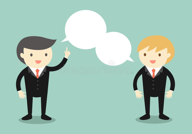 Business concept, Two businessmen are talking the same thing. Vector illustration stock illustration