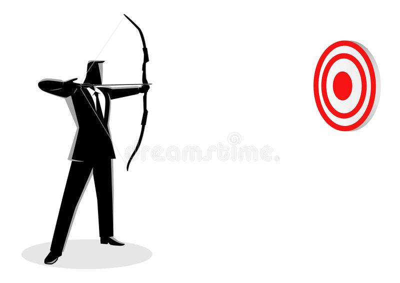 Business Target. Business concept vector illustration of a businessman as an archer. Business on target stock illustration