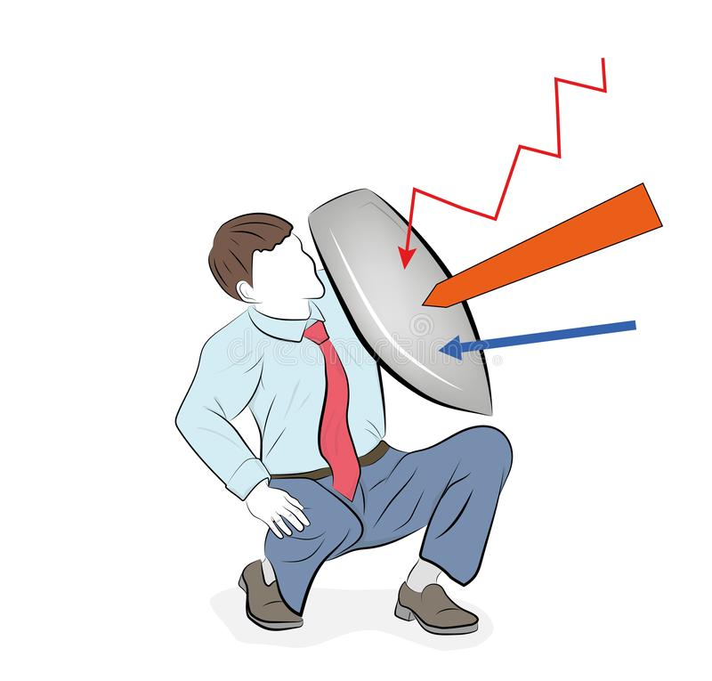 Business concept vector illustration of a businessman defending himself with a shield. Risk, courage, leadership in business conce. Pt stock illustration