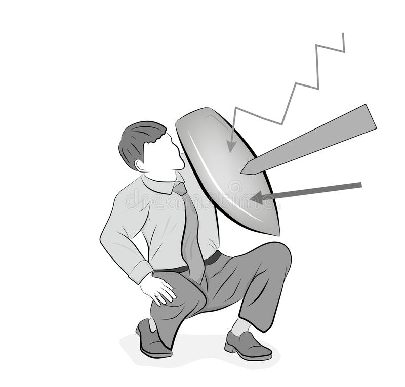 Business concept vector illustration of a businessman defending himself with a shield. Risk, courage, leadership in business conce. Pt vector illustration