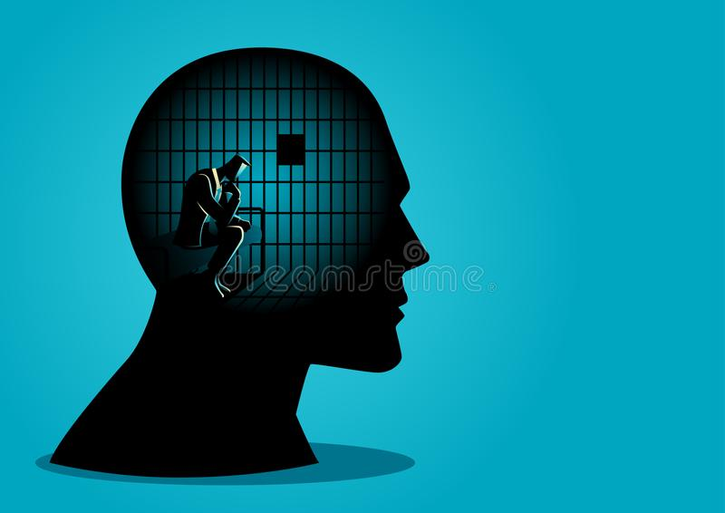 Restrictions on The Freedoms of Thought. Business concept vector illustration of a businessman in human head being in jail, struggle, lack of creativity stock illustration