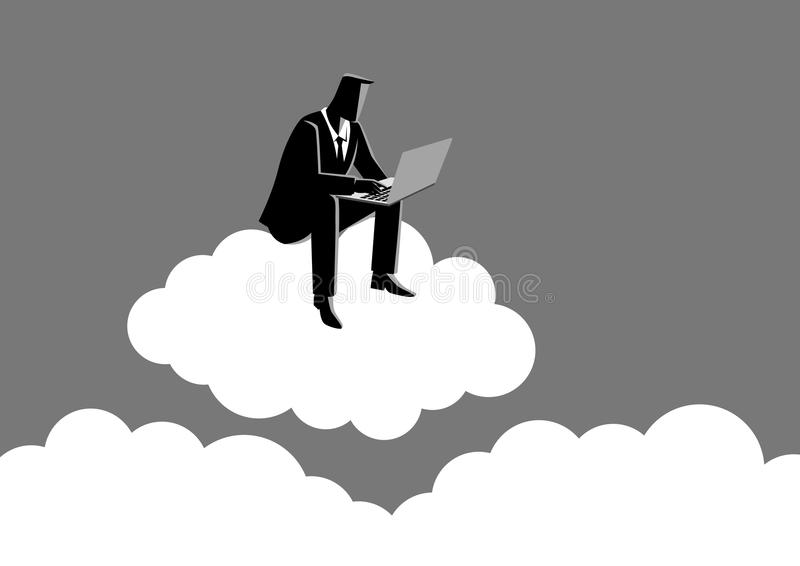 Businessman sits on cloud stock illustration
