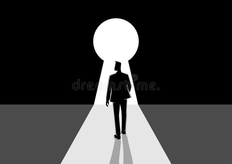 Businessman walking into keyhole stock illustration