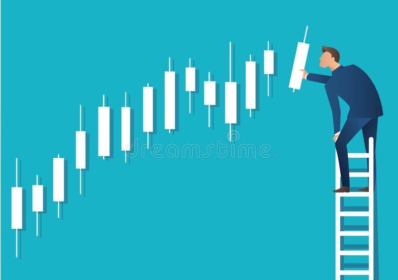 Business concept vector illustration of a man on ladder with candlestick chart background, concept of stock market stock illustration