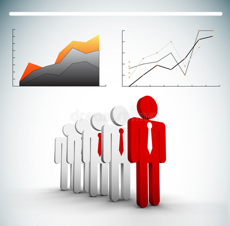 Business concept. Vector illustration of business people and chart. EPS10 file. Contains blending mode stock illustration