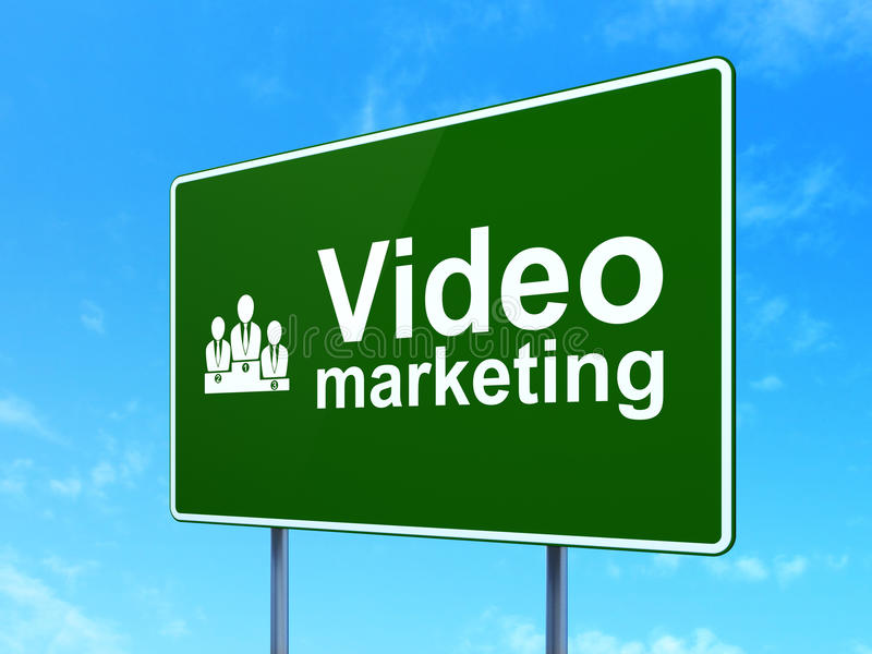 Business concept: Video Marketing and Business. Team icon on green road (highway) sign, clear blue sky background, 3d render stock images