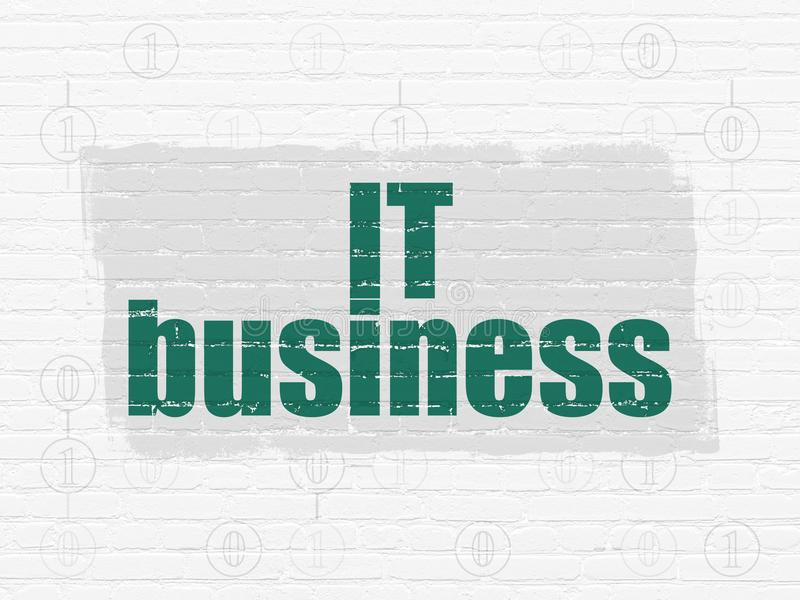 Business concept: IT Business on wall background. Business concept: Painted green text IT Business on White Brick wall background with Scheme Of Binary Code vector illustration