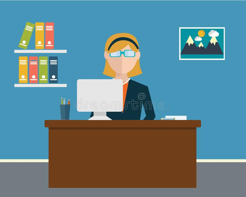 Business concept - woman sitting at the table and working on the computer in the office. Vector illustration, flat style royalty free illustration