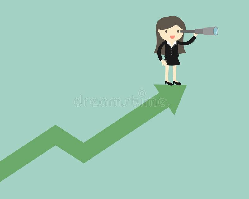Business concept, Business woman is using her telescope while standing on the up chart. stock illustration
