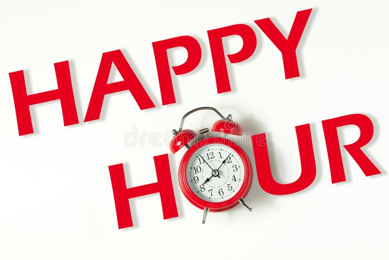 Happy hour with classic clock. Business concept words happy hour with red classic clock stock image
