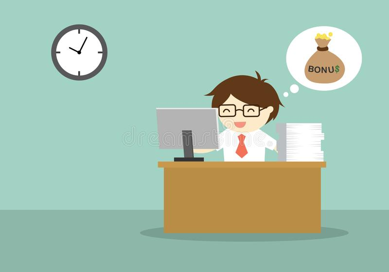 Business concept working on his desk till late because he expected for bonus. royalty free illustration