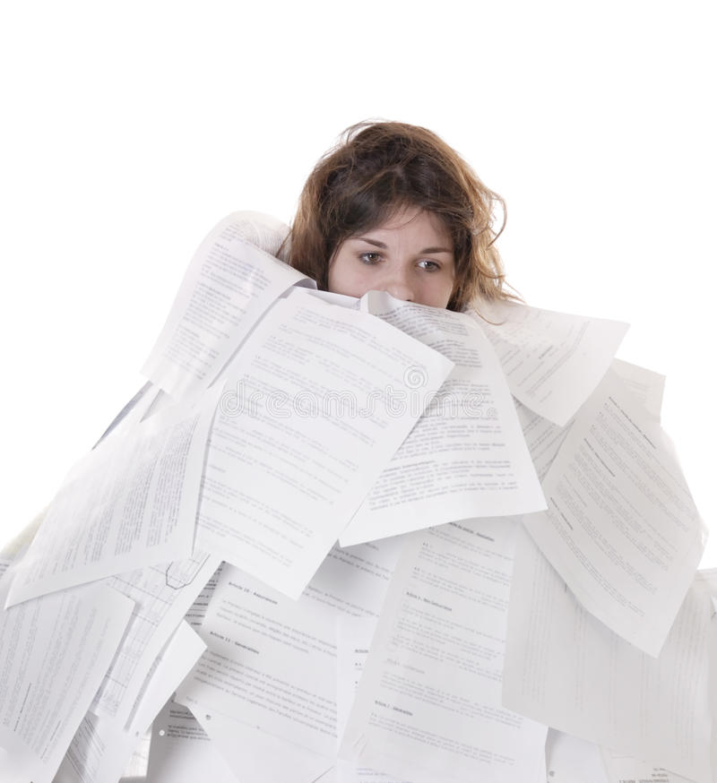 Free Business Concept:young Woman Drowning In Papers Stock Photo - 16498330