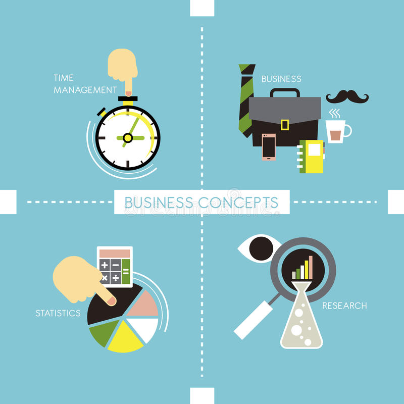 Business concepts in flat style royalty free illustration