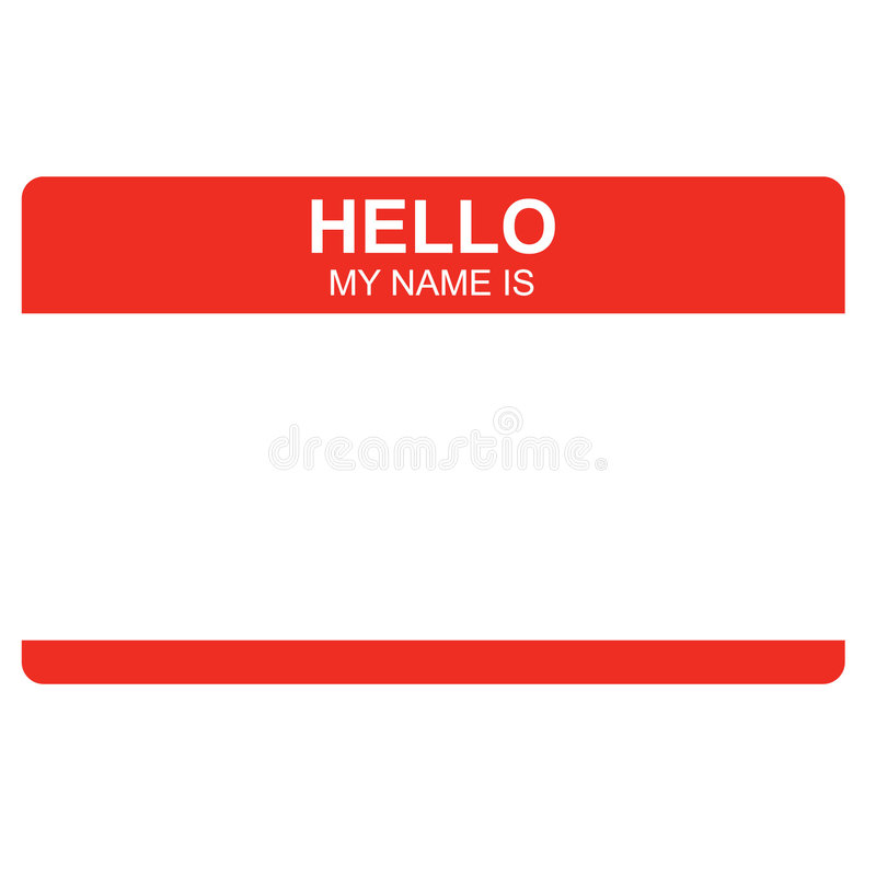 Business Concepts: Hello Name Tag stock illustration