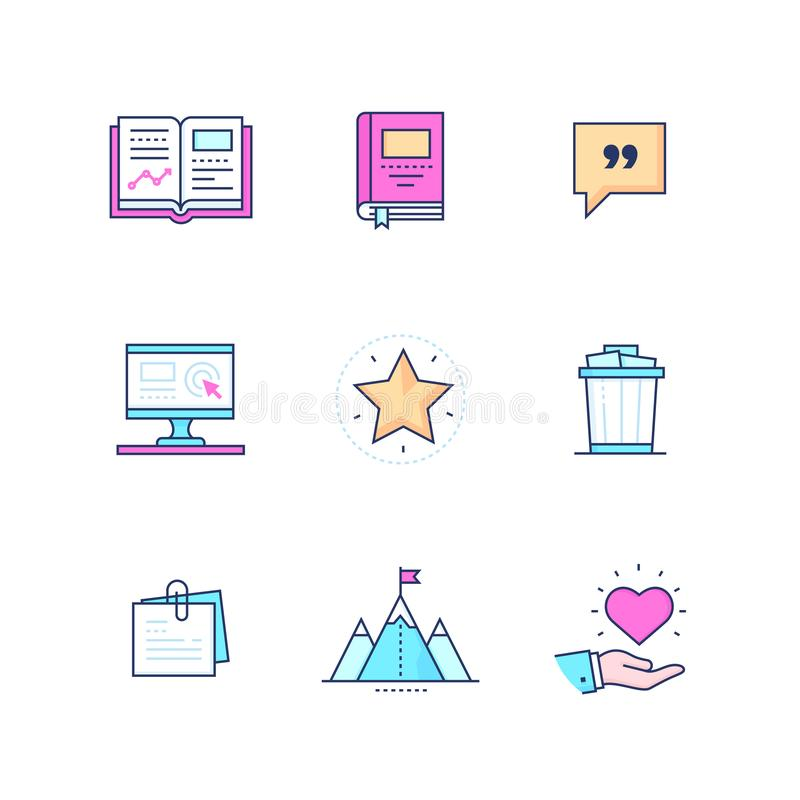 Business concepts - modern line design style icons set. On white background. High quality pink, blue images with notepad, rubbish bin, mountain top, monitor vector illustration