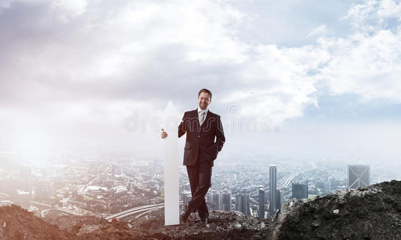 Business conceptual image of businessman in ruins royalty free stock photos