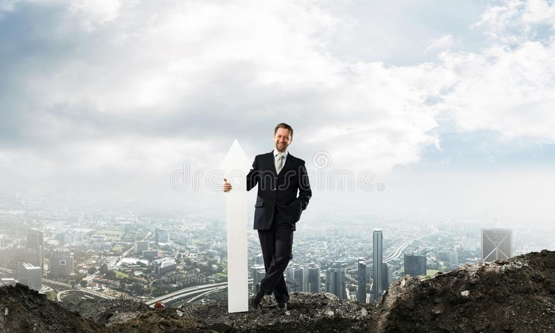 Business conceptual image of businessman in ruins royalty free stock image