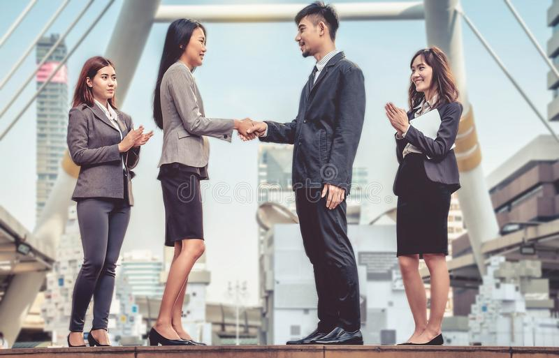 The Business Confederate hands together. The teamwork and unity royalty free stock photo