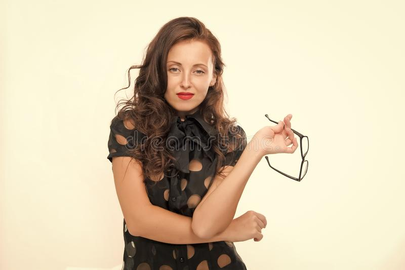 Business conference. Lady business coach. Knowledge is my passion. Woman eyeglasses attractive teacher or lecturer royalty free stock photography