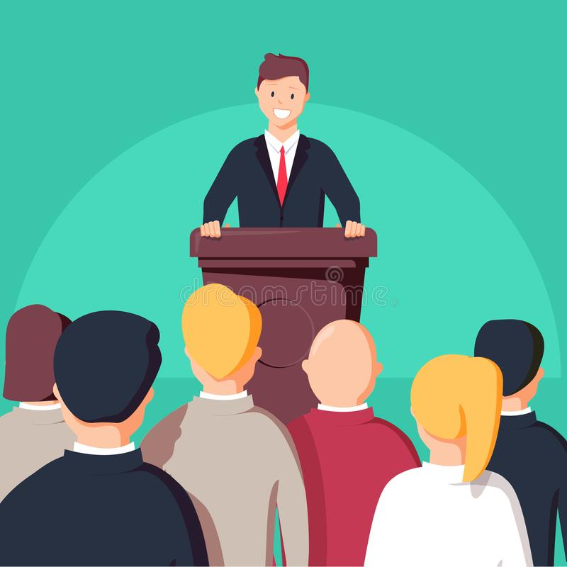Business conference, business meeting. Man at rostrum in front of audience. Public speaker vector illustration
