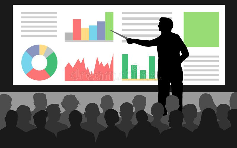 Business conference, presentation charts. royalty free illustration