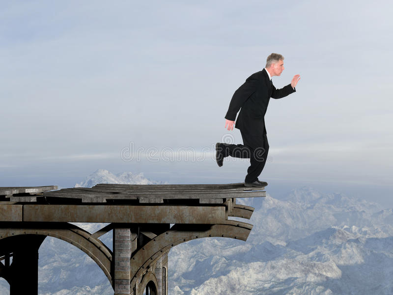 Business, Confidence, Leader, Leadership, Success. Abstract business concept. Businessman is running forward where the bridge is out. The man has confidence stock image