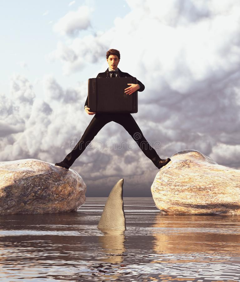 Business Confidential Protection. Businessman holding travel case while stretching his legs between two rocks and shocking looking at a shark,3d rendering