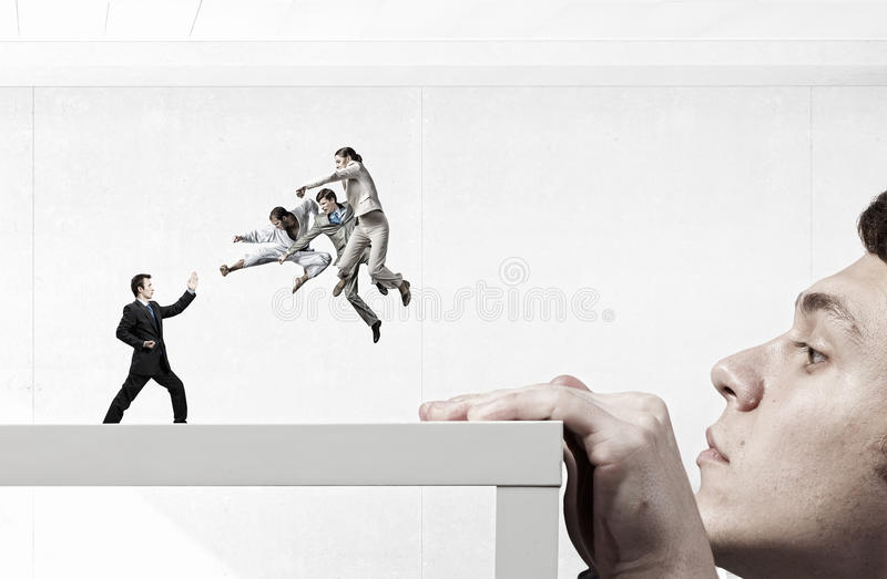 Business conflict and confrontation . Mixed media stock image