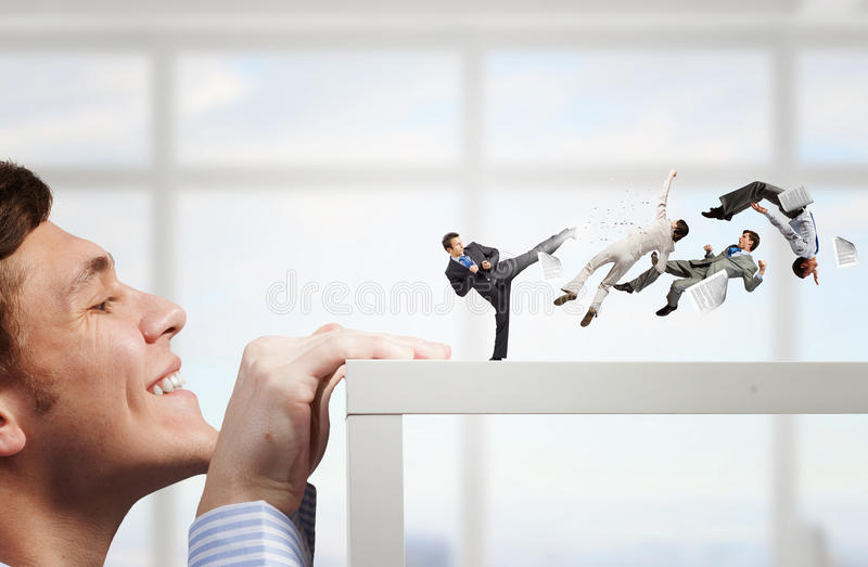 Business conflict and confrontation . Mixed media royalty free stock photo