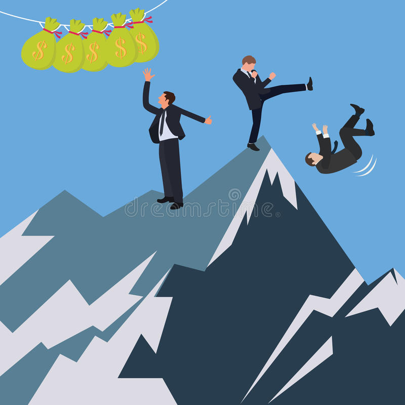Business conflict office try fight to reach get money. Vector vector illustration