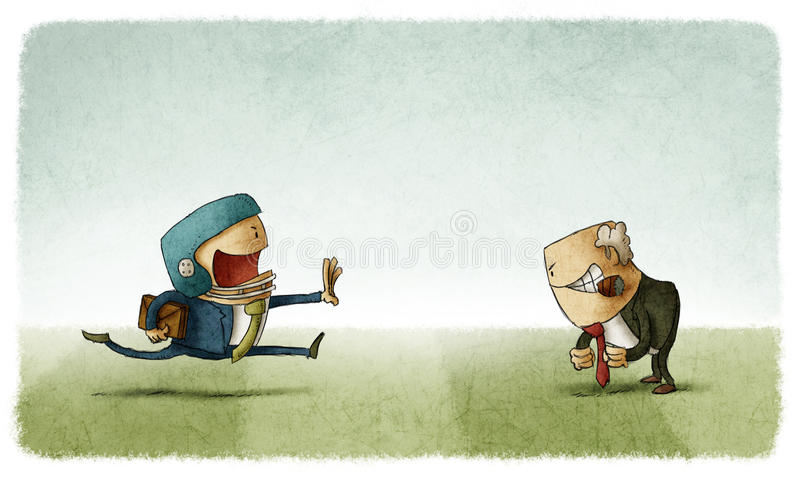 Business confrontation. Businessman in conflict with her boss royalty free illustration