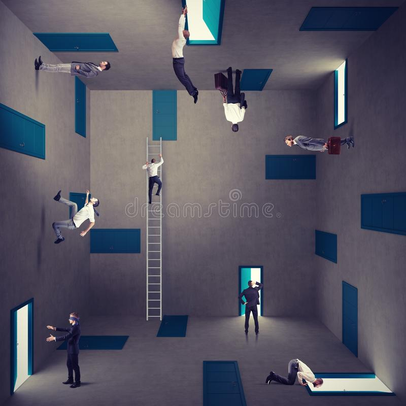 Business confusion and right strategy. Concept of confusion and right strategy of a businessman stock image