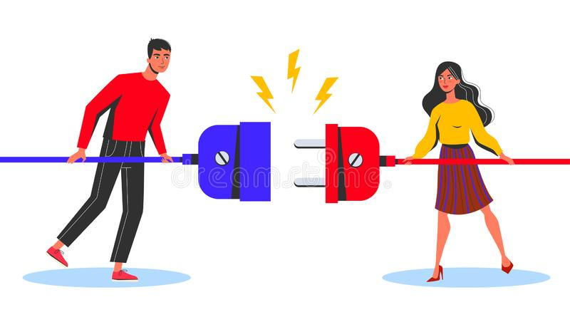 Business connection concept. Woman and man standing. And holding wire and plug. Idea of communication and cooperation. Isolated vector illustration in cartoon stock illustration